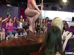 Cock hungry girls suck stripper cock at CFNM party