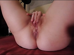 Hairy  MILF wife masturbates fingers wet snatch