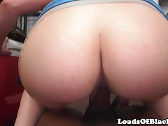 Blonde amateur pounds black cock at casting