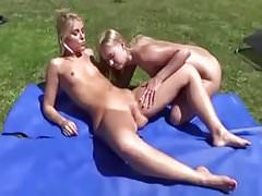 Amateur - Two Little Tits Blonds - One Pees on the other