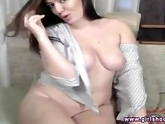 Russian MILF huge boobs webcam show masturbation