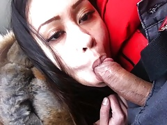 Filipina sucking & deepthroating dick in a car