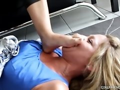Wife Foot Humiliation by Hubby's Mistress