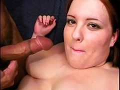 Horny Fat BBW slut we picked at the bar swallowing cum