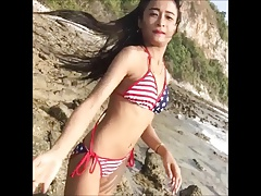 Sexy skinny bikini girl will make you cum
