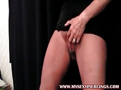 My Sexy Piercings Amateur MILF playing with her pierced puss