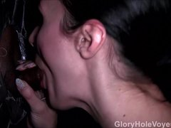 Brunette Sucks Black Cock Gloryhole