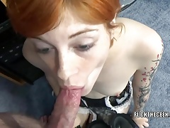 Innocent coed Ava Little gives a point of view blowjob