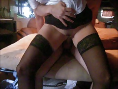 Hairy pussy and ass fucked by young cock