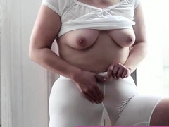 Mormon MILF amateur masturbates with vibrator in underwear