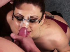 Sensual spex redhead facialized to keep job