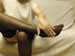 Foot fetish,stockings girl with Polish webcams