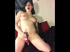 Big titty goth girl smokes and fucks herself with toys