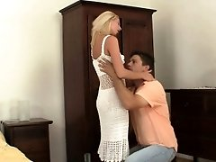European blonde girl cheating him