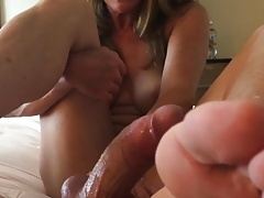 Footjob handjob soles in face with cum cleanup