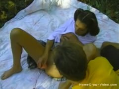 Schoolgirl toys her pussy then gets fucked in the woods