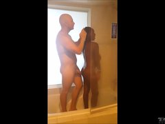 Black Teen Ginger Man Interracial Shower