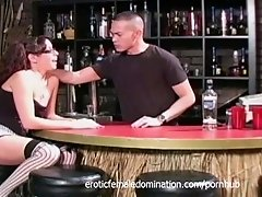 girl goes crazy with the bartender's cock at the bar