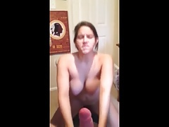 Wife sucks cock while riding her sybian