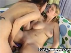Busty amateur Catrina and Agnes on hot foreplay